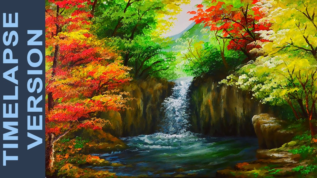 Water falls in autumn forest acrylic painting tutorial for Photos to paint