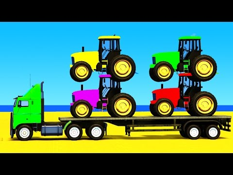 Thumbnail: COLOR CARS and FUN TRACTOR with Superheroes 3d in Spiderman Cartoon for Kids and Children
