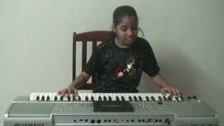 Nandini playing on keyboard hindi song Masakali  from Delhi-6