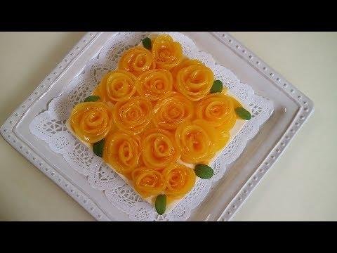 Peach Flower No-Bake Cheesecake 桃のお花のレアチーズケーキ お誕生にも!