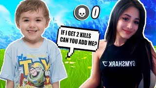 Adorable Kid On Fortnite Wants Me To Add Him If He Gets 2 Kills!
