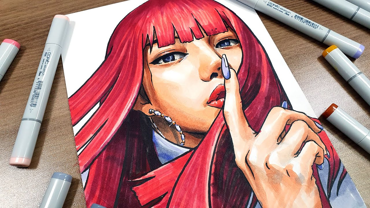 Drawing LISA - BLACKPINK(how you like that) with copicmarker 블랙핑크 리사 코픽마카로 손그림 그리기