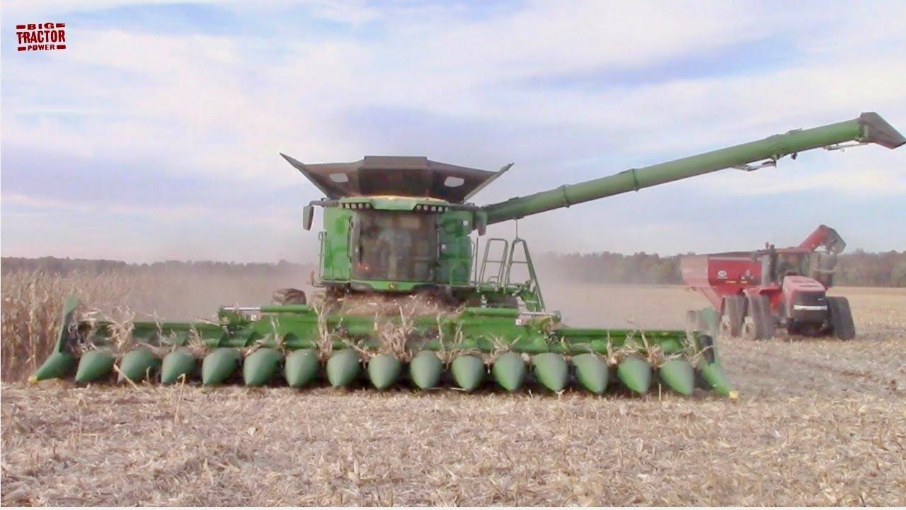 john deere x9 1100 combine harvesting corn  youtube