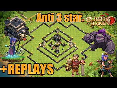 ANTI 3 STAR || TOWNHALL 9 BASE ||WITH REPLAYS||CLASH OF CLANS||