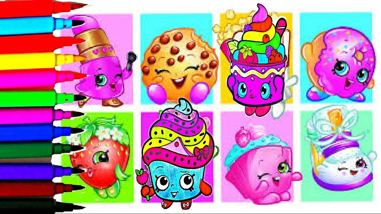 Shopkins Coloring Book Pages NEW Rainbow Color Learn Colors Popsicle ...