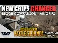 GUIDE: THE NEW GRIPS CHANGED AGAIN! *Updated* Spray pattern comparison, Assault rifle (M416) - PUBG