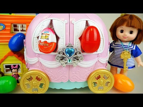Baby doll and Pink pumpkin car surprise eggs toys play