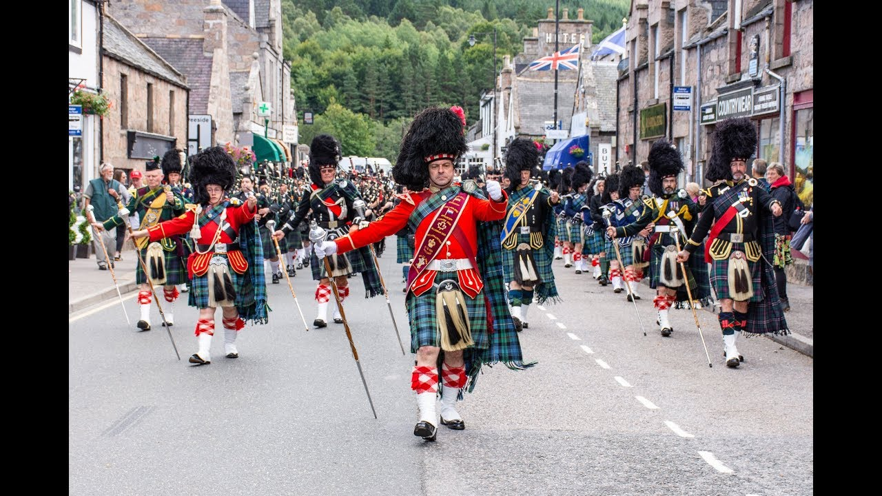 Download Massed Pipes & Drums parade through Deeside town to start the Ballater Highland Games 2018