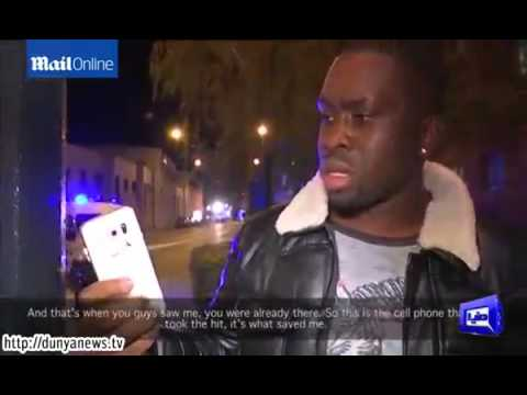Man shows mobile phone that saved his life in Paris attacks