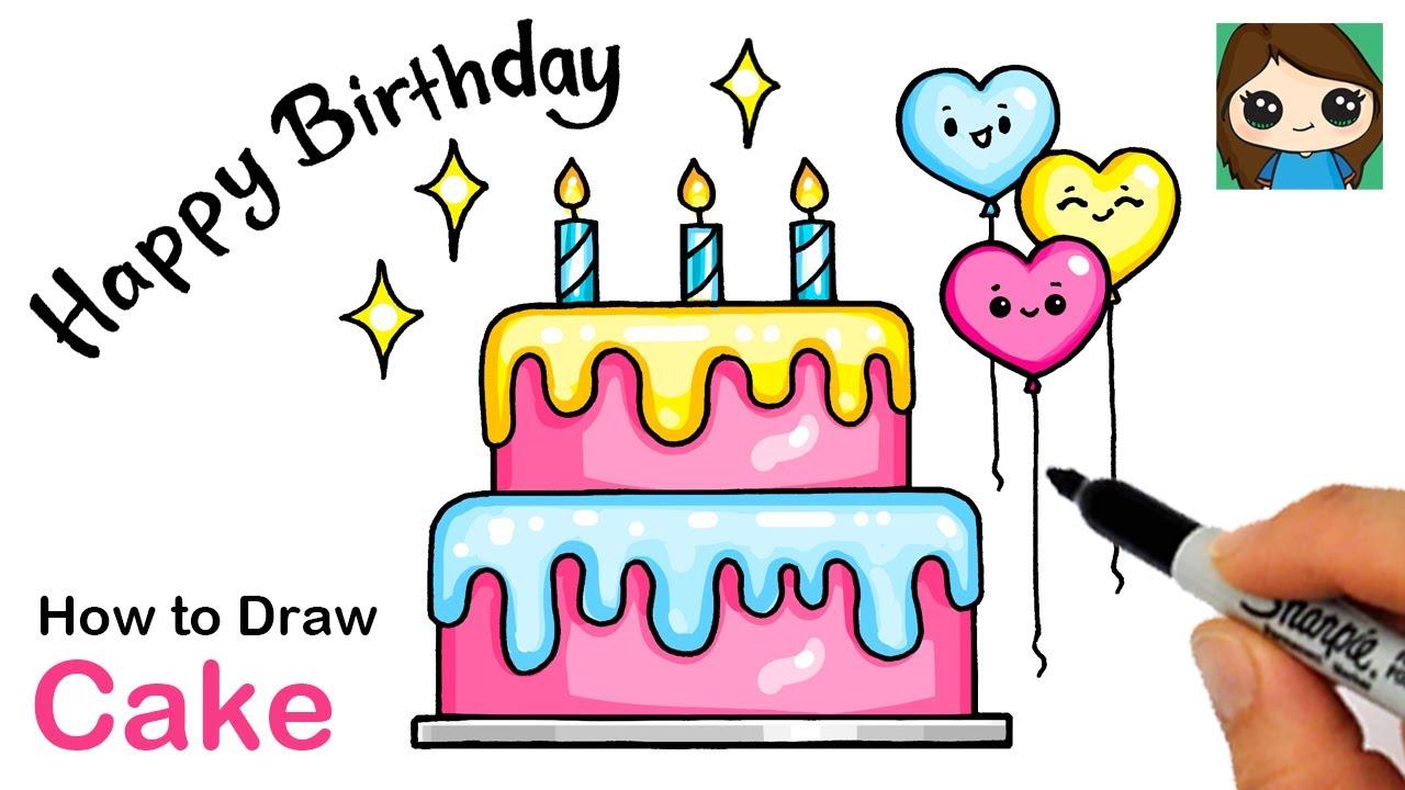 How To Draw A Happy Birthday Cake Easy Youtube
