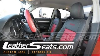 Dodge Charger custom 2-tone Black & Red leather seat installation with steamer - LeatherSeats.com