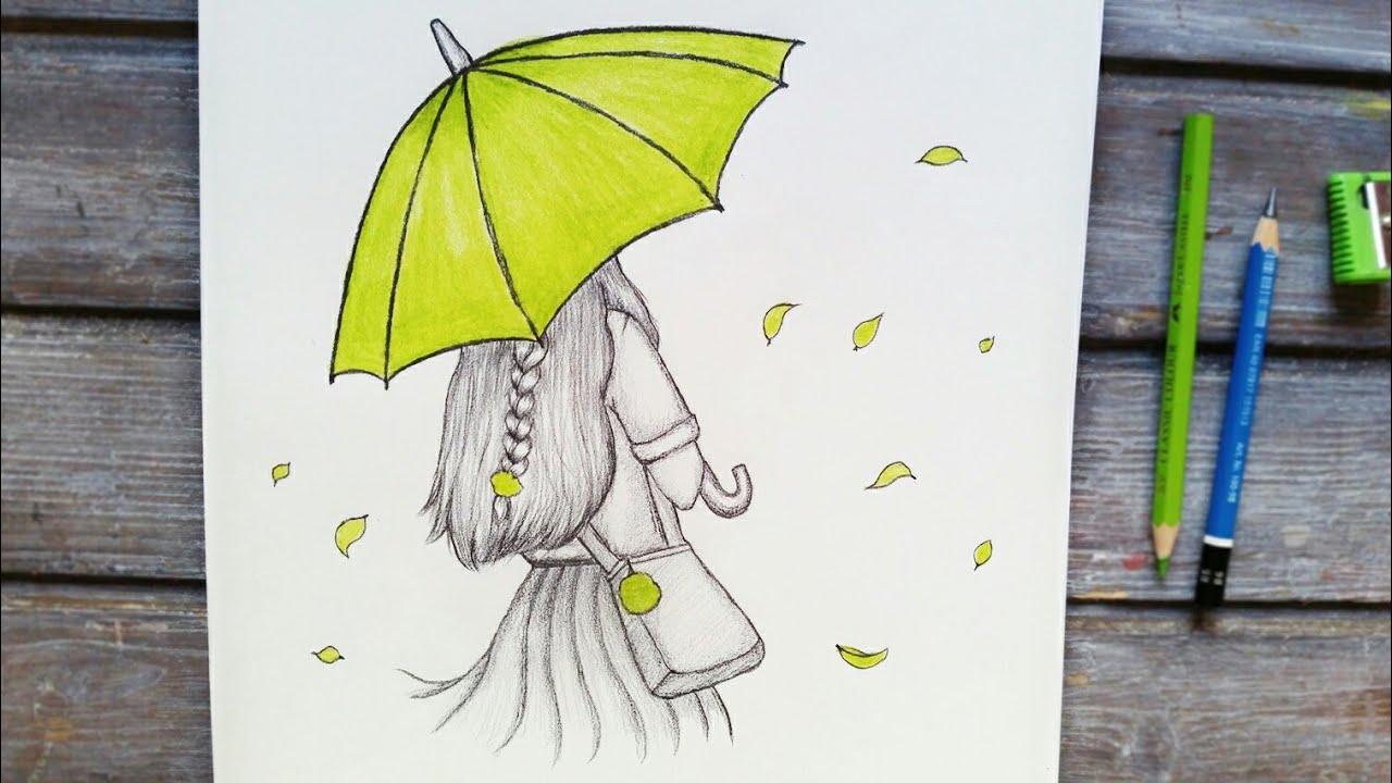رسم سهل | تعليم رسم بنت من الخلف تحمل مظلة بالرصاص للمبتدئين بطريقة سهلة وبسيطة | رسم بنات كيوت