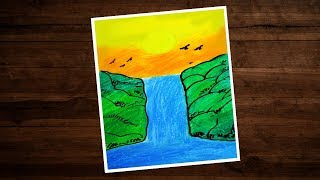 How To Draw Waterfall Drawing With Oil Pastels   Moonlight Waterfall Scenery Drawing For Beginners