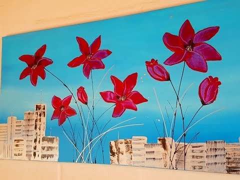 Flowers acrylic painting with palette knife - Silver City -