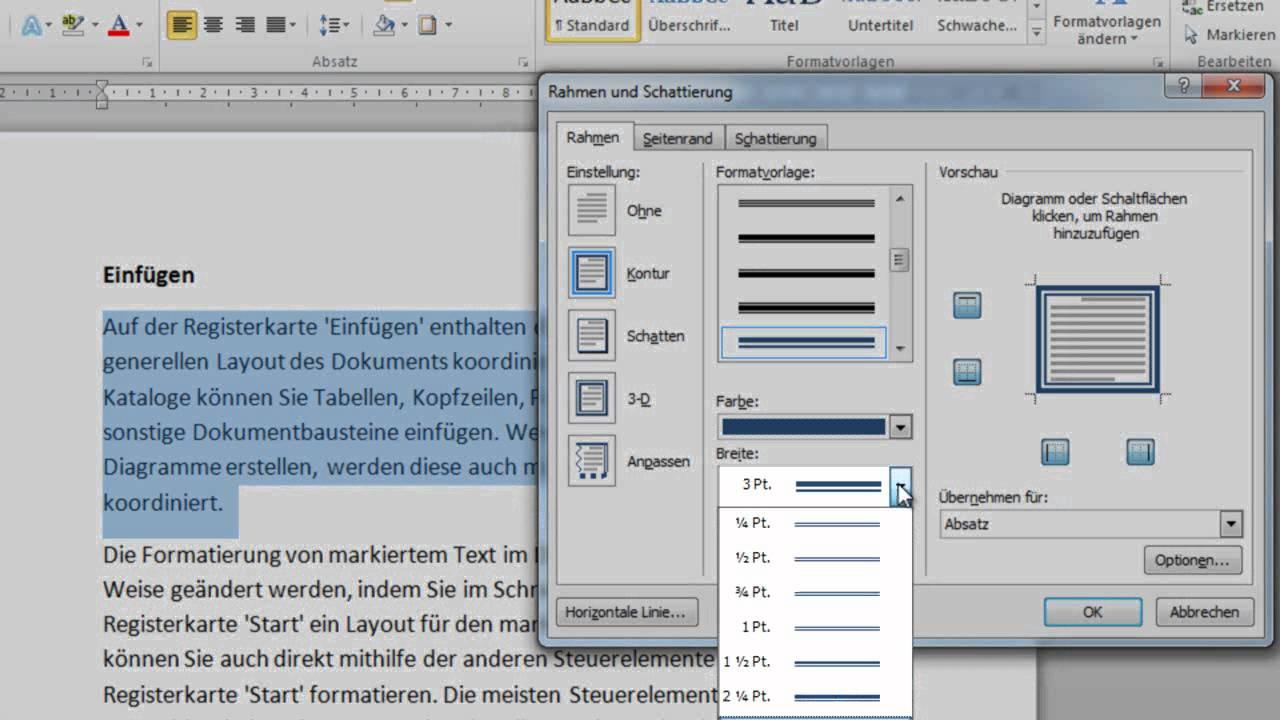 Word 2010: Absatz oder Text mit individuellem Rahmen versehen - YouTube