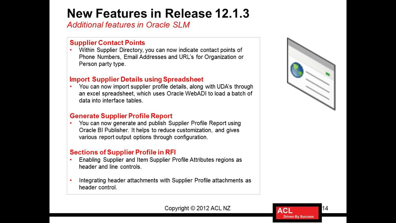 R12i Oracle Supplier Lifecycle Management - New Features in R12 1 3