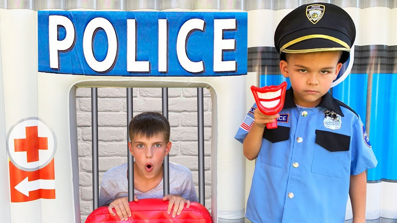 Dima and Andrew Pretend Play Police