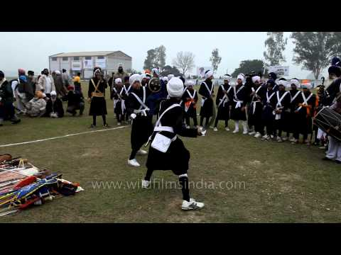 Traditional martial arts troupe Nihang Sikh at Kila Raipur