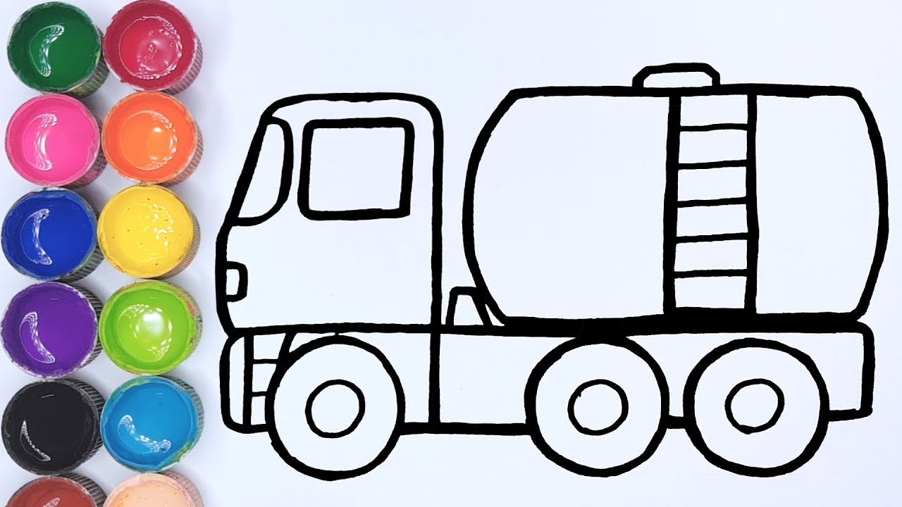 Cara Menggambar Dan Mewarnai Mainan Truk Tangki Youtube