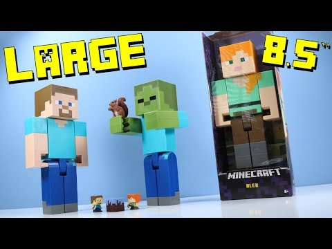 "Minecraft Large Scale Action Figures 8.5"" Steve Alex & Zombie from Mattel"