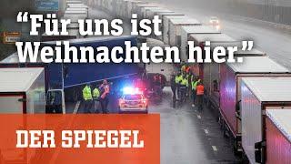 Traurige Trucker an der EU-Grenze