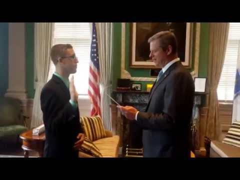 Governor of Massachusetts Charlie Baker swears in 17 year old Donald Willyard