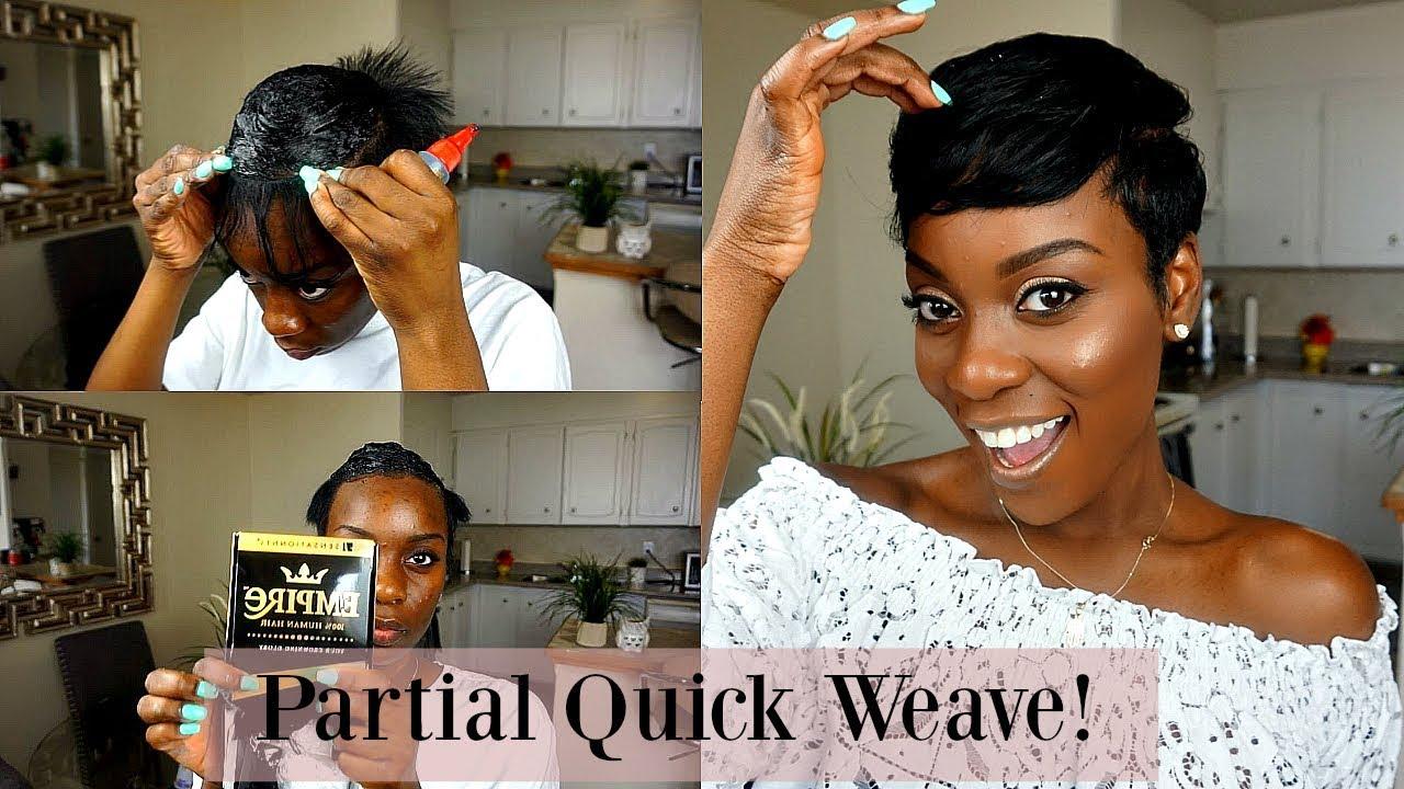 partial quick weave!  short hair tutorial  short hair magic!
