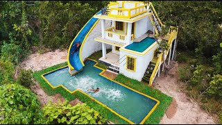Build The Most Creatively 2-Story Villa House And Modern Water Slide To Swimming Pool In Deep Jungle
