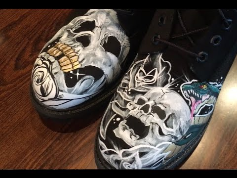 63e7ca762dc4 Custom Timberland Boots Black Skulls Roses And Snakes Time-lapse How To DIY