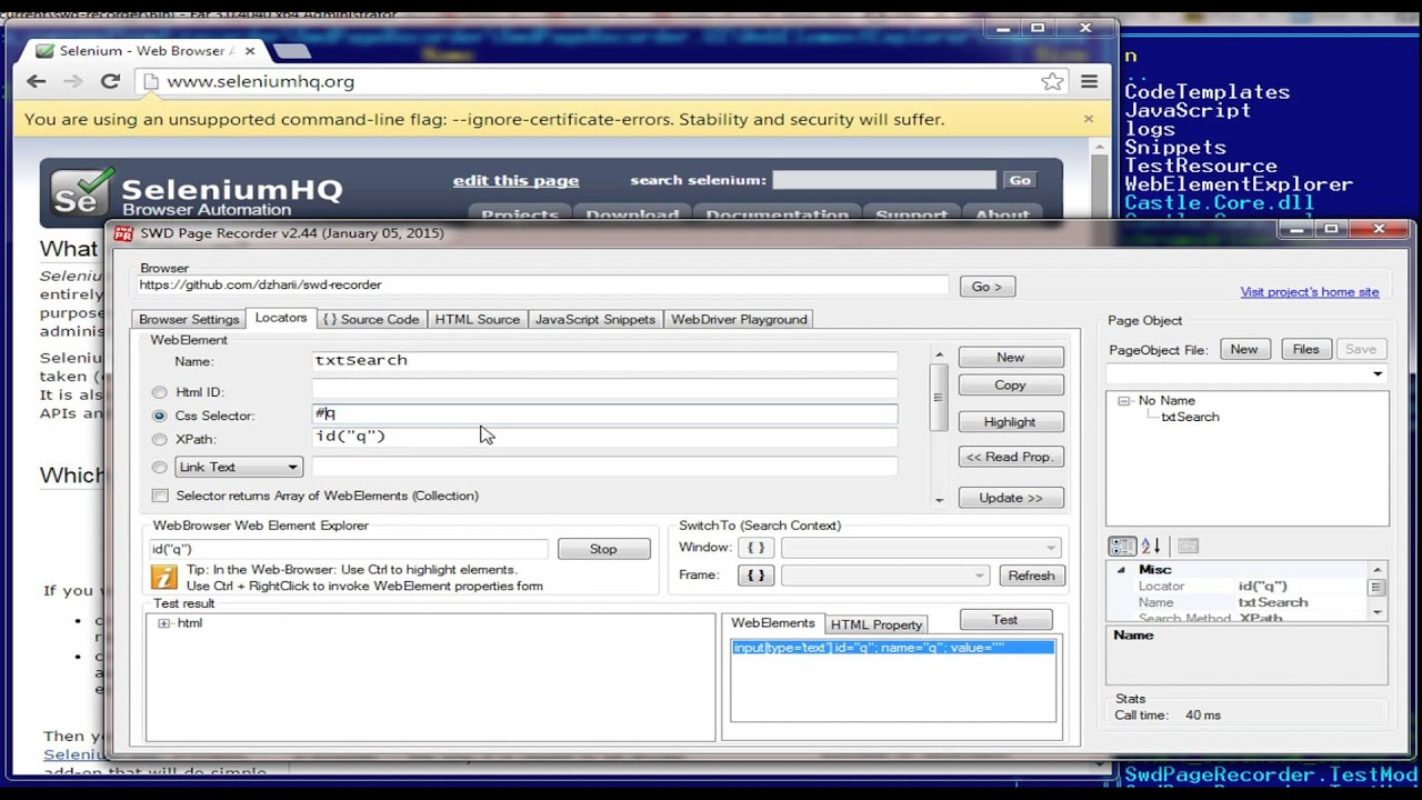 SWD Page Recorder – records WebElements and generates