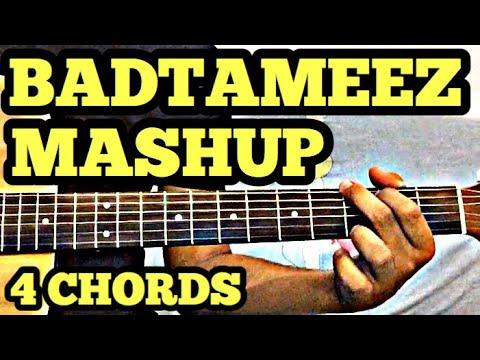 Bollywood Mashup Guitar Chords Lesson (Badtameez Mashup) | 4 Chord ...