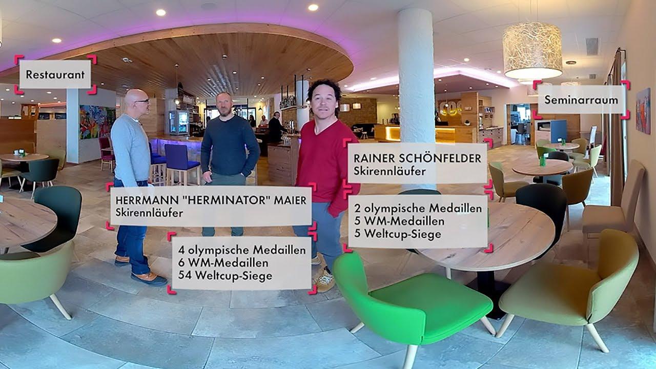 Cooee Alpin Hotel in Gosau [kurz], 360 Grad Hotelrundgang mit Hermann Maier und Rainer Schönfelder