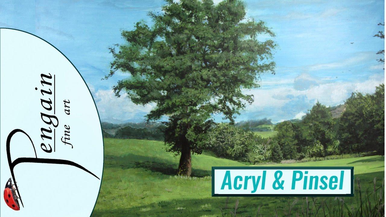 Baum Mit Landschaft Malen In Acryl Auf Mdf Kurztutorial