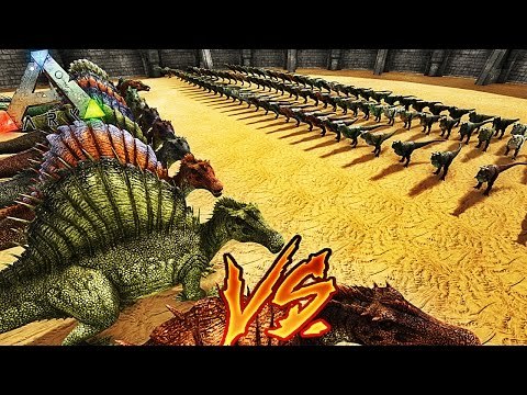 100 CARNOTAURUS VS 10 SPINOSAURE ! | ARK: Survival Evolved !