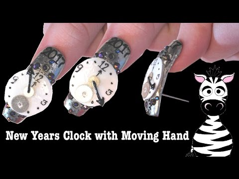 3d New Years Clock With Spinning Hand Acrylic Nail Art Design
