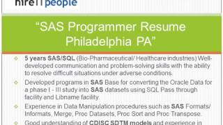 SAS Programmer Resume Philadelphia PA
