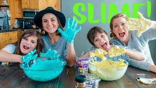 Twins Kate and Lilly Make Fluffy Slime  DIY Science Experiment!