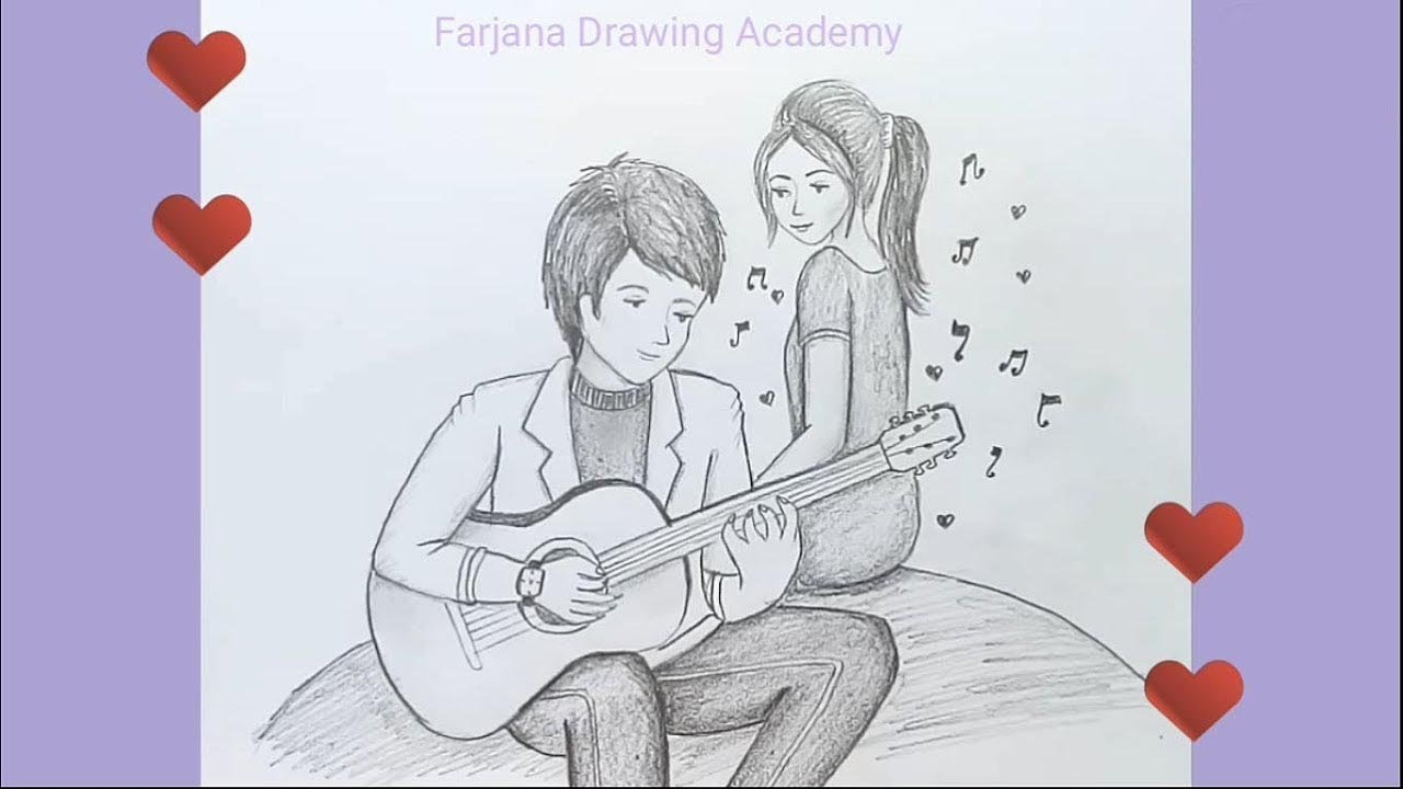 Valentine couple pencil drawing sketch