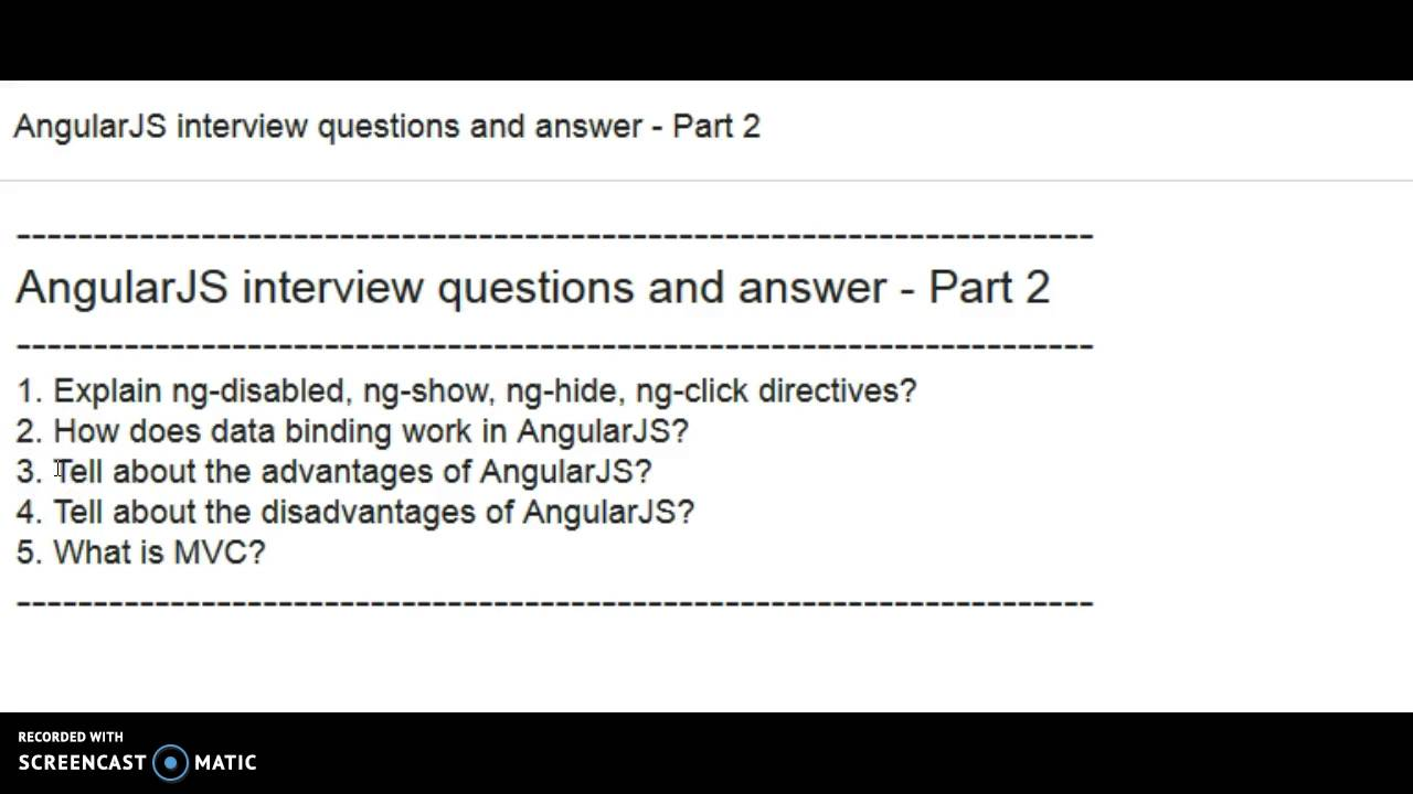 angularjs interview questions and answer part 2 youtube - Structured Interview Questions And Answers Advantages And Disadvantages