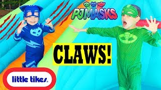 PJ Masks CATBOY CLAWS Bounce House! Giant Water Slide for Gekko!