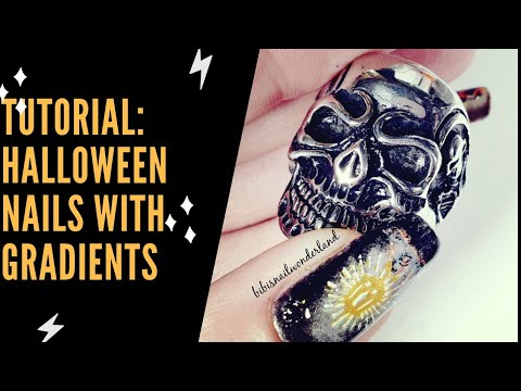 Nail tutorial: Halloween nails with grey gradients thumbnail