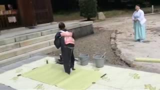 [書道家 井上理白] 世界平和の日プロジェクト 松江護国神社にての奉納揮毫(2017/9/21)