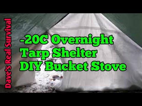 64. Winter, Tarp Shelter, DIY Stove, Minus 20.