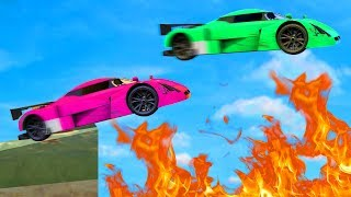 BOYFRIEND vs. GIRLFRIEND IMPOSSIBLE FIRE JUMPS! (GTA 5 Funny Moments)