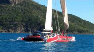 High Performance Catamaran On the Edge Sailing in the Whitsundays -