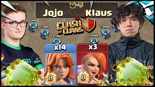 Klaus vs the World Champion, Jojo, with Mass Valks in Clash of Clans!
