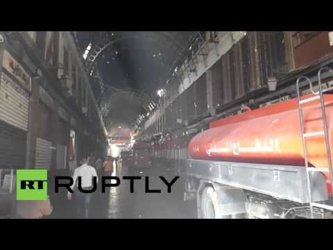 Syria: Fire rips through Damascus market