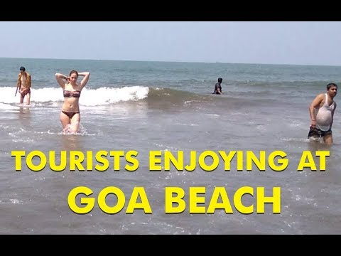 Tourists Enjoying at Goa Beach | Foreigners in Goa Beach | Goa Morjim Beach