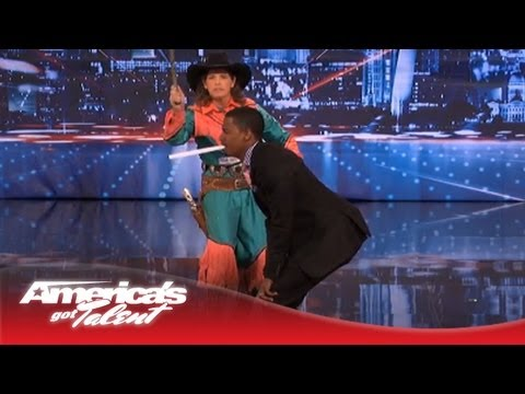 Pistol Packin' Paula Almost Whips Nick Cannon - America's Got Talent
