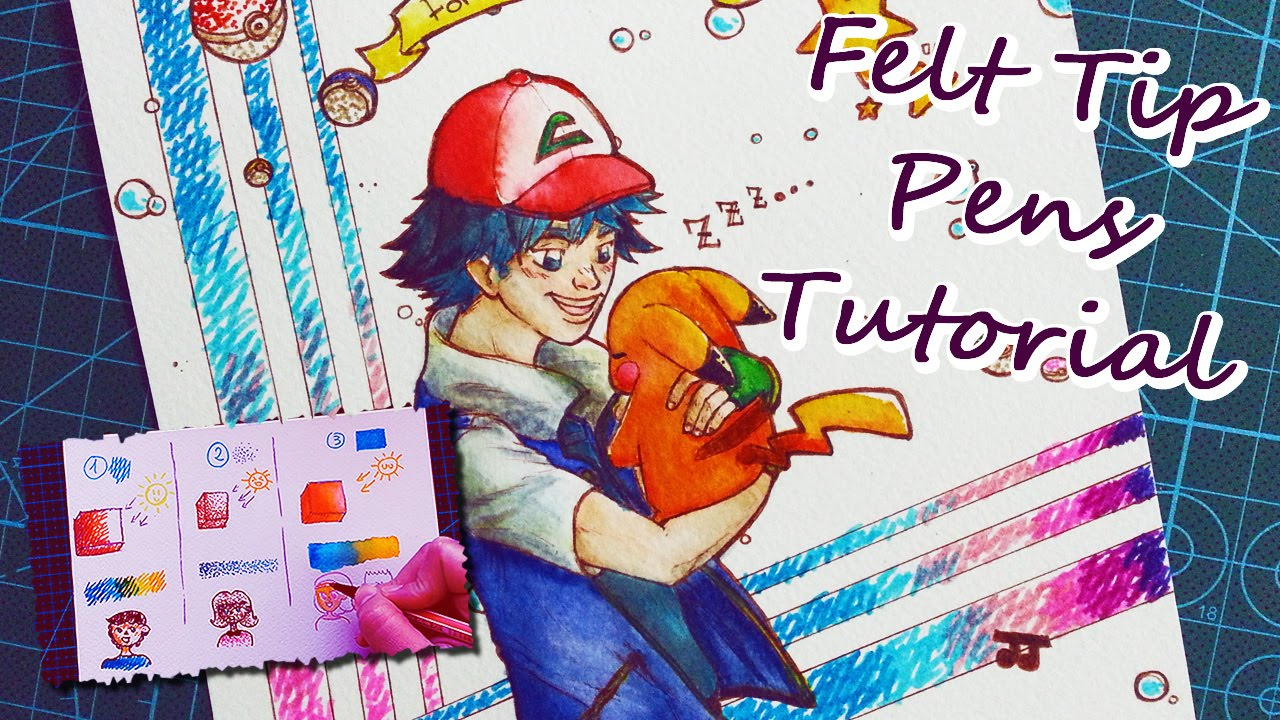 Color drawing pens for artists - How To Use Felt Tip Pens Eng Tutorial Ash Pikachu Pok Mon Drawing Youtube